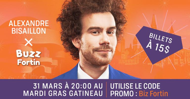 Alexandre «Biz» Bisaillon au Mardi Gras de Gatineau le 31 mars prochain